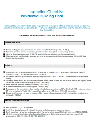 Residential Building Final Inspection Checklist