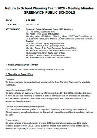 Return to School Planning Team Meeting Minutes