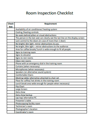 Room Inspection Checklist Example
