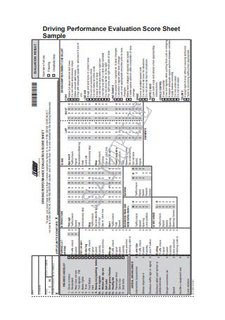 Sample Driving Performance Evaluation Score Sheet