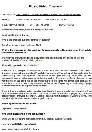 Sample Music Video Proposal