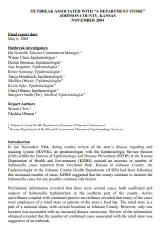 Sample Outbreak Investigation Final Report
