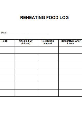 Sample Reheating Food Log Spreadsheet