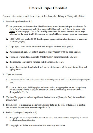 Sample Research Paper Checklist