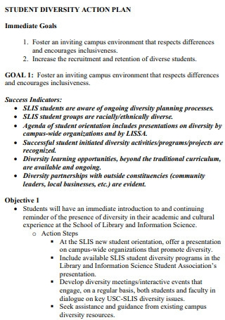 Sample Student Diversity Action Plan