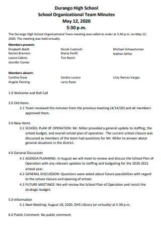 School Organizational Team Meeting Minutes