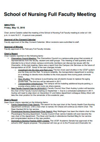 School of Nursing Faculty Meeting Minutes