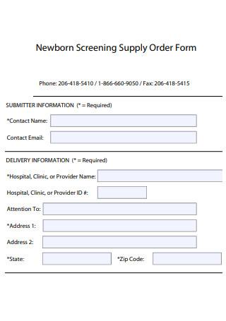 Screening Supply Order