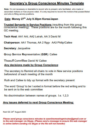 Secretary Group Conscience Meeting Minutes