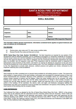 Shell Building Fire Prevention Inspection Checklist