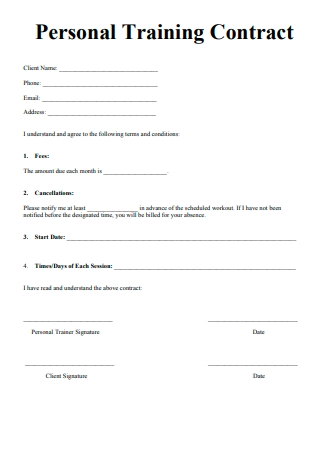 Simple Personal Training Contract