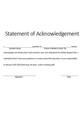 Simple Statement of Acknowledgement