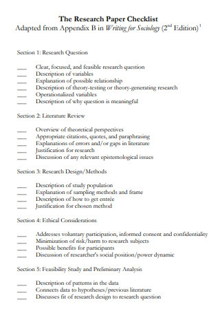 Sociology Research Paper Checklist