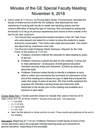 Special Faculty Meeting Minutes