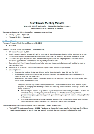 Staff Council Meeting Minutes