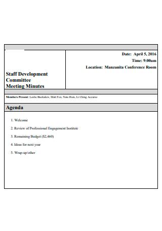 Staff Development Committee Meeting Minutes