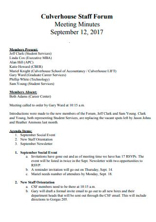 Staff Forum Meeting Minutes