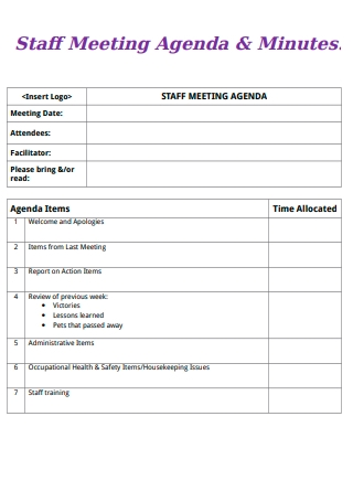 Staff Meeting Agenda and Minutes