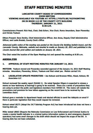 Staff Meeting Minutes in PDF