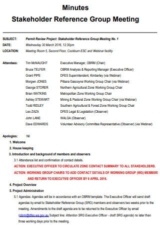 Stakeholder Reference Group Meeting Minutes