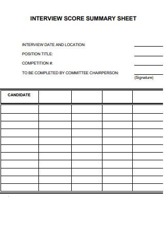 Standard Interview Summary Sheet