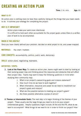 Standard One Page Action Plan