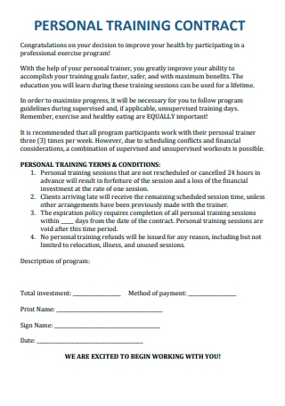 Standard Personal Training Contract