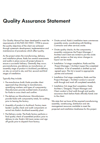 Standard Quality Assurance Statement