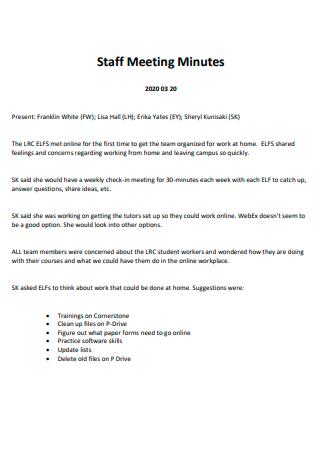 Standard Staff Meeting Minutes