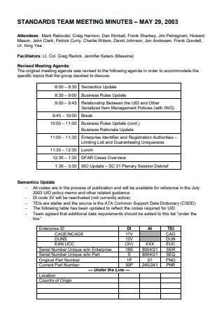 Standard Team Meeting Minutes
