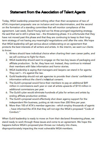 Statement from the Association of Talent Agents