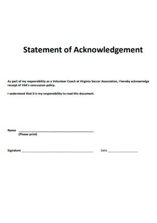 Statement of Acknowledgement Format