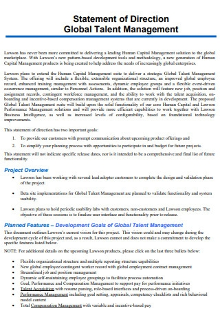 Statement of Direction Global Talent Management