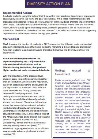 Student Diversity Action Plan