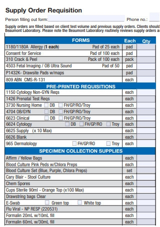 Supply Order Requisition