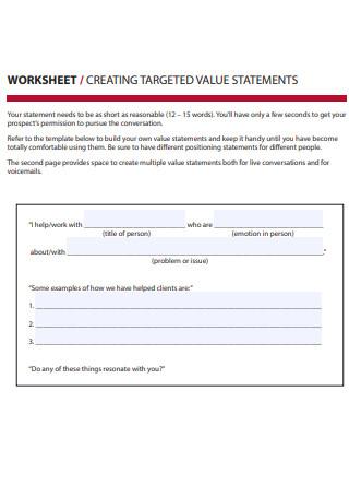 Targeted Value Propositions Worksheet