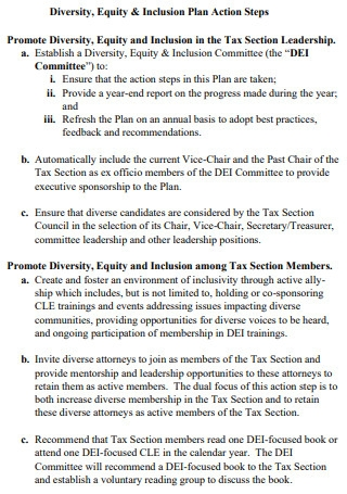 TaxSection Diversity Action Plan