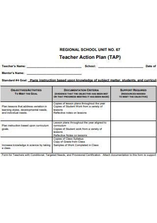 Teacher Action Plan