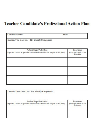 Teacher Candidates Professional Actions Plan