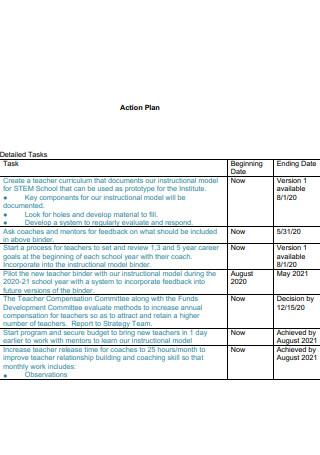 Teacher Care Model Action Plan