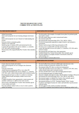 Teacher Corrective Action Plan Activities