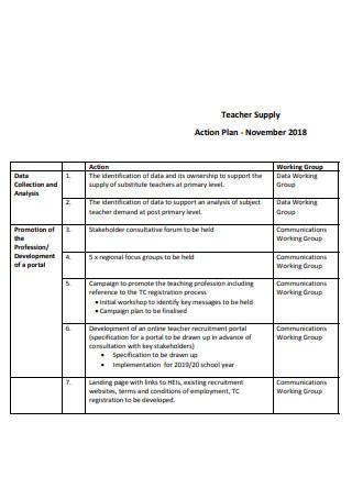 Teacher Supply Action Plan