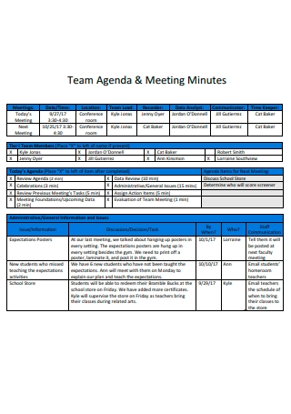 Team Agenda and Meeting Minutes