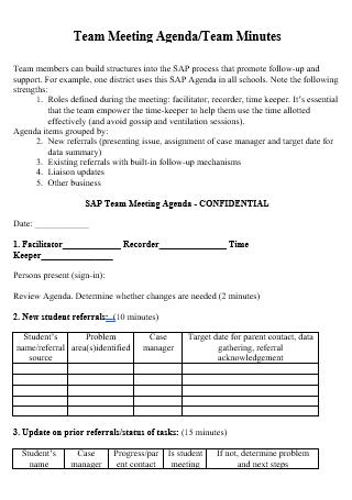 Team Meeting Agenda Minutes