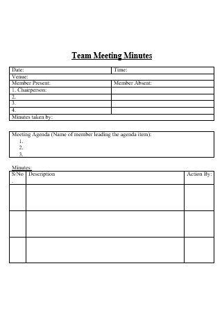 Team Meeting Minutes in DOC