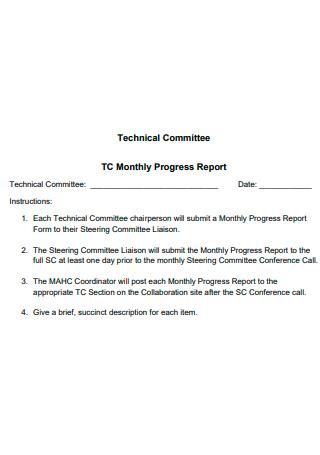 Technical Committee Monthly Progress Report