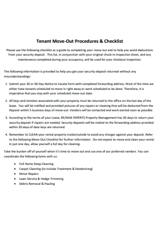Tenant Move Out Procedures and Checklist