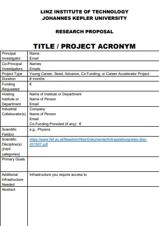 Title Project Research Proposal