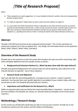 Title of Research Proposal