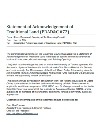 Traditional Land Statement of Acknowledgement